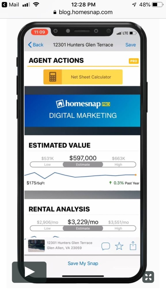 Realty Advantage homesnap tutorial screenshot